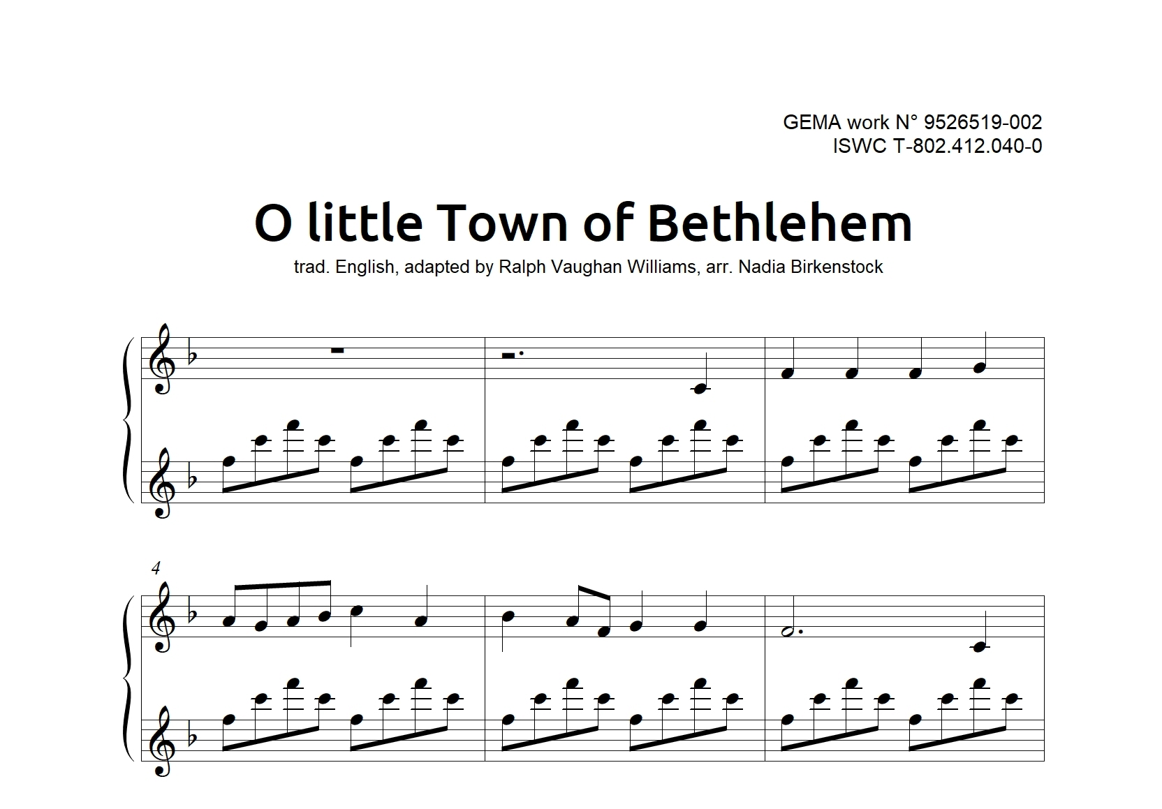 O little Town of Bethlehem – PDF – Nadia Birkenstock Shop – Deutsch