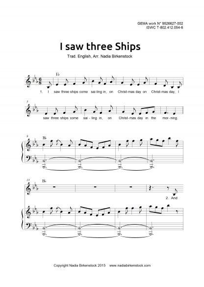 Preview_I saw three ships_sheet music_harp
